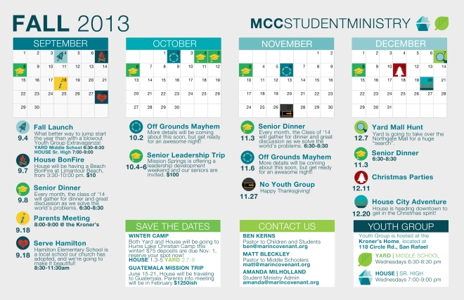 Youth Ministry Calendar Ideas : Student ministry fall calendar marin covenant church