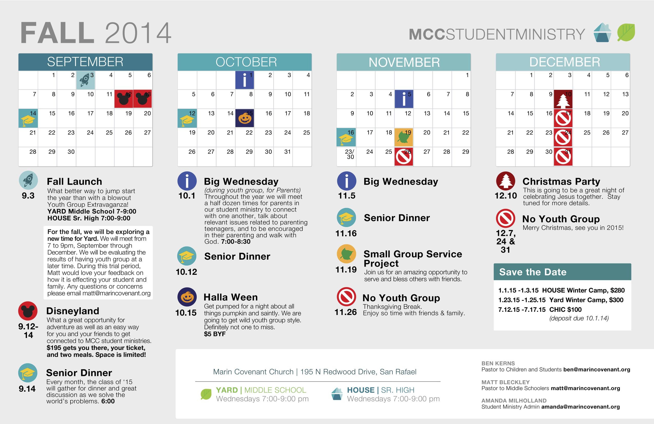Youth ministry fall calendar 2014 marin covenant church for Youth group calendar template